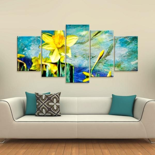 Ready2Hangart 'painted Petals Vii' 5 Piece Canvas Wall Art – Free Inside Five Piece Wall Art (Image 11 of 20)