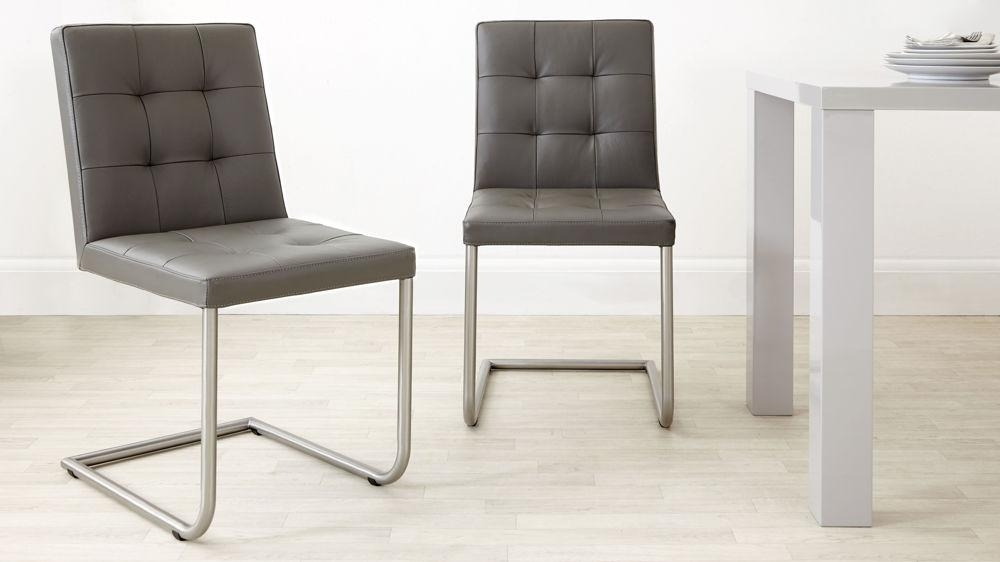 Real Leather Designer Dining Chair | Grey, White And Black Uk Intended For Grey Leather Dining Chairs (View 7 of 20)