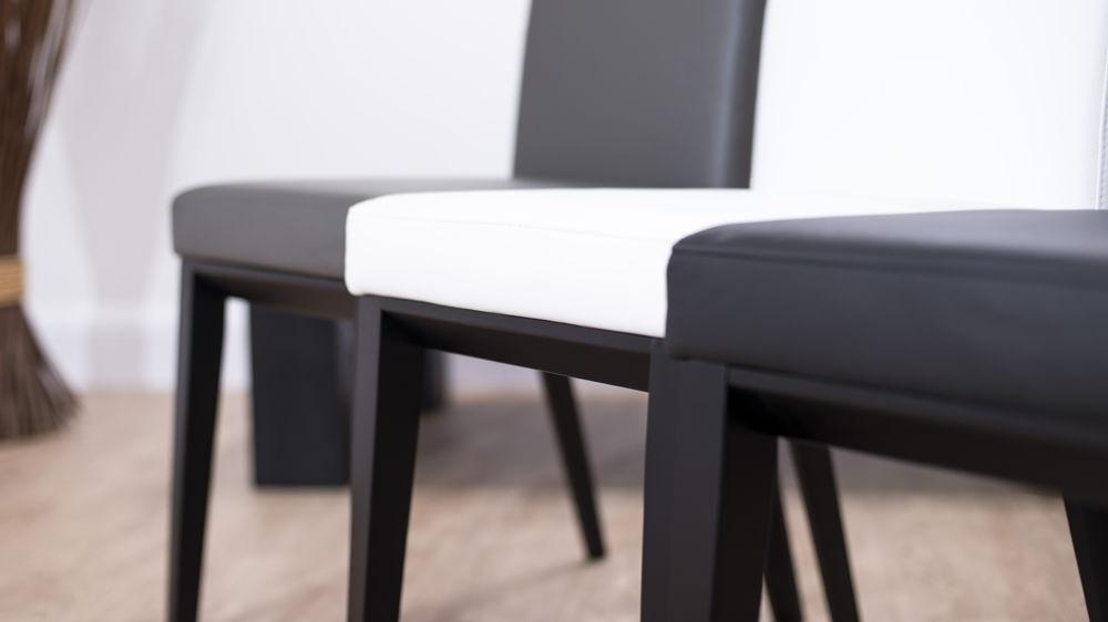 Real Leather Dining Chair With Black Wooden Legs| White, Black Or Grey Pertaining To Real Leather Dining Chairs (View 5 of 20)