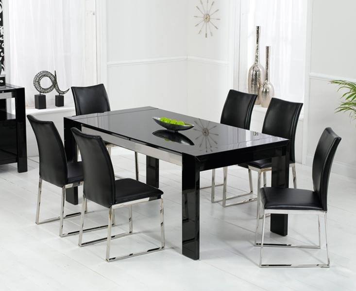 Recently Scala Black Gloss Dining Table 180Cm & 6 Scala Black Pertaining To Most Up To Date 180Cm Dining Tables (Image 16 of 20)