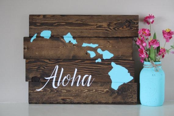 Reclaimed Wood Wall Art Aloha Hawaiian Island Reclaimed Pertaining To Hawaiian Wall Art (Image 12 of 20)