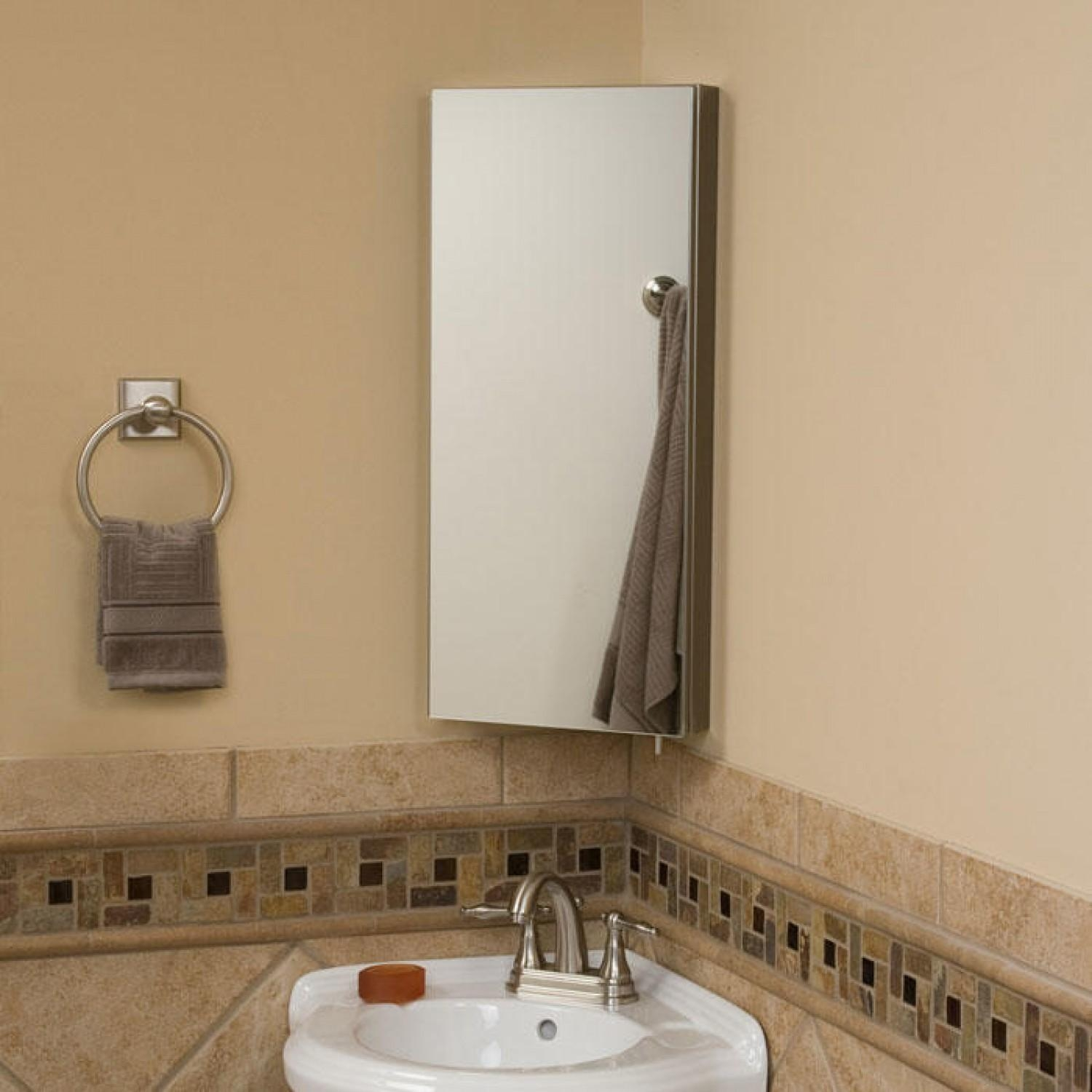 Rectangle Corner Mirror And White Sink Also Round Steel Towel Hook Intended For Corner Mirrors (Image 19 of 20)
