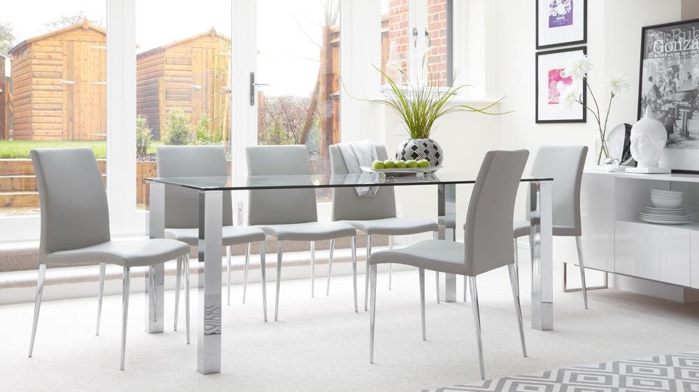 Rectangular Clear Glass Dining Table| Chrome Legs| Uk Pertaining To Recent Chrome Dining Room Chairs (Image 12 of 20)