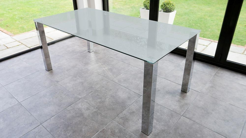 Rectangular Frosted Glass Dining Table | Chrome Legs| Seats 4 6 People Regarding Best And Newest Chrome Glass Dining Tables (Image 13 of 20)