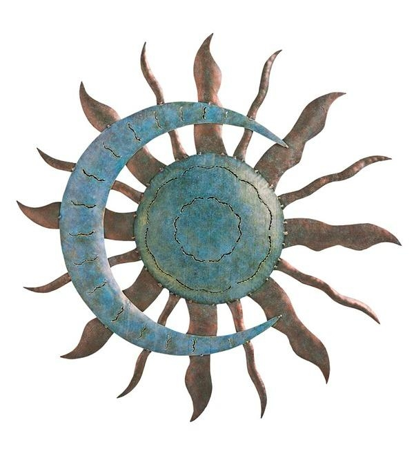 Recycled Metal Moon And Sun Wall Art In Metal Garden Wall Art Regarding Sun And Moon Metal Wall Art (Image 13 of 20)