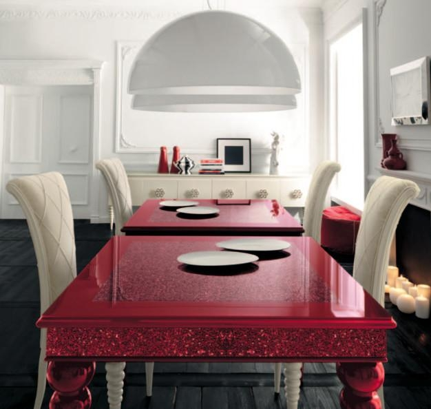 Red Dining Table With White High Backed Chairsaltamoda In Most Recent Red Gloss Dining Tables (Image 15 of 20)