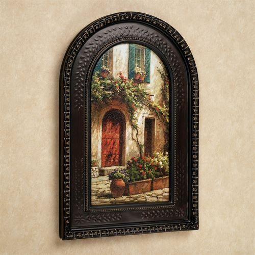 Red Door Italian Scene Arched Framed Wall Art For Framed Italian Wall Art (Image 7 of 20)