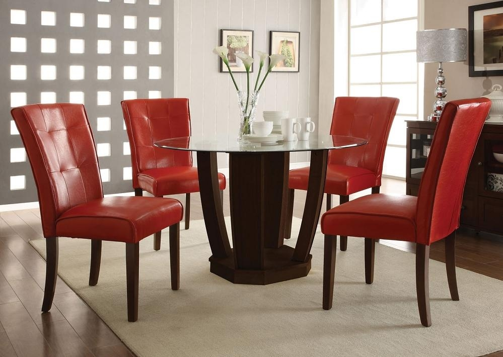 Red Leather Dining Table Chairs | Dining Chairs Design Ideas Regarding Most Current Glass Dining Tables And Leather Chairs (View 7 of 20)