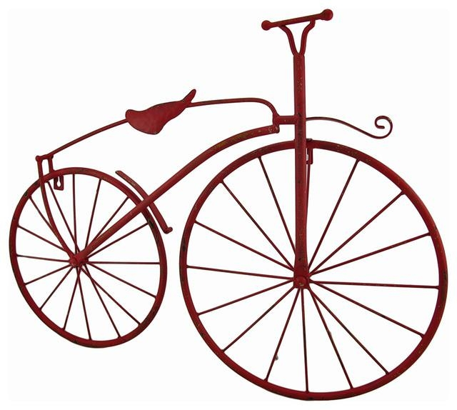 Red Metal Vintage Finish High Wheel Bicycle Wall Hanging Intended For Metal Bicycle Art (Image 18 of 20)