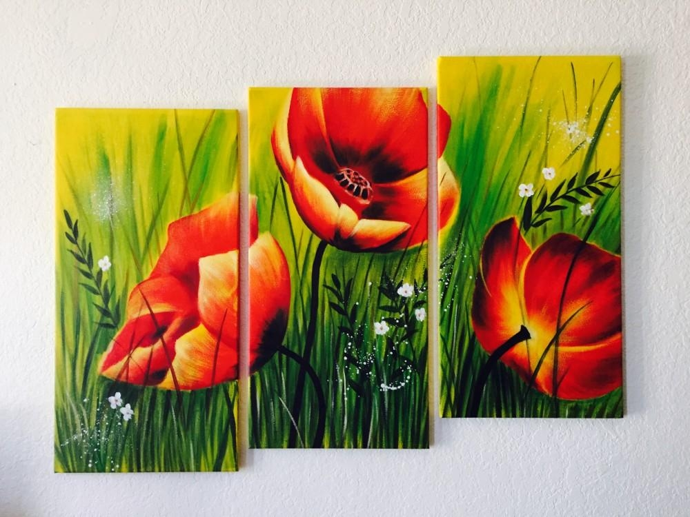 Red Poppies Floral Acrylic Painting 3 Piece Wall Art Regarding 3 Piece Floral Wall Art (View 8 of 20)