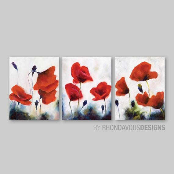 Red Poppy Wall Art. Red Poppy Painting Reprint. Home Decor (Image 16 of 20)