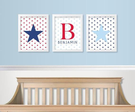 Red White And Blue Nursery Decor Military Baby Nursery Pertaining To Red White And Blue Wall Art (Image 15 of 20)