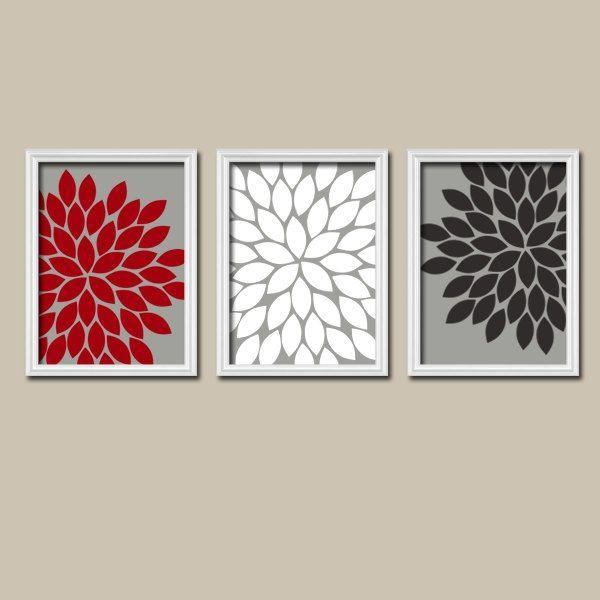 Red White Black Grey Charcoal Flower Burst Gerbera Daisies Artwork With Regard To Red Bathroom Wall Art (Image 17 of 20)