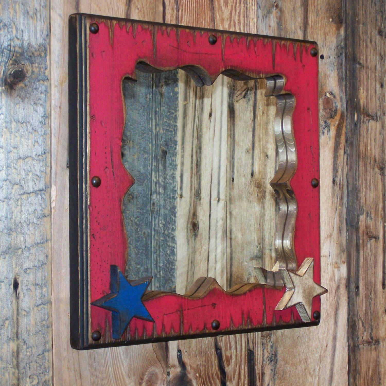 Red White & Blue Decorative Wood Mirror Wood Framed With Regard To Decorative Wooden Mirrors (View 11 of 20)