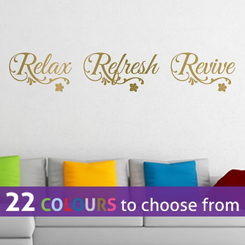 Relax Refresh Revive Quote Wall Sticker Art Decal Bedroom Bathroom For Gold Wall Art Stickers (Image 16 of 20)