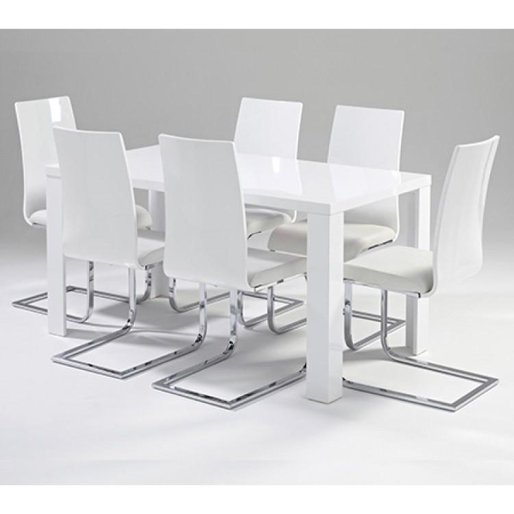 Remarkable White Gloss Dining Table And 6 Chairs 11 About Remodel For Most Current White Gloss Dining Tables Sets (Image 11 of 20)