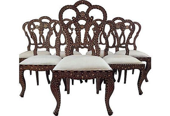 Reserved Antique Dining Chairs 19 Century Bone Ebony Anglo Indian With Most Popular Indian Dining Chairs (Image 12 of 20)