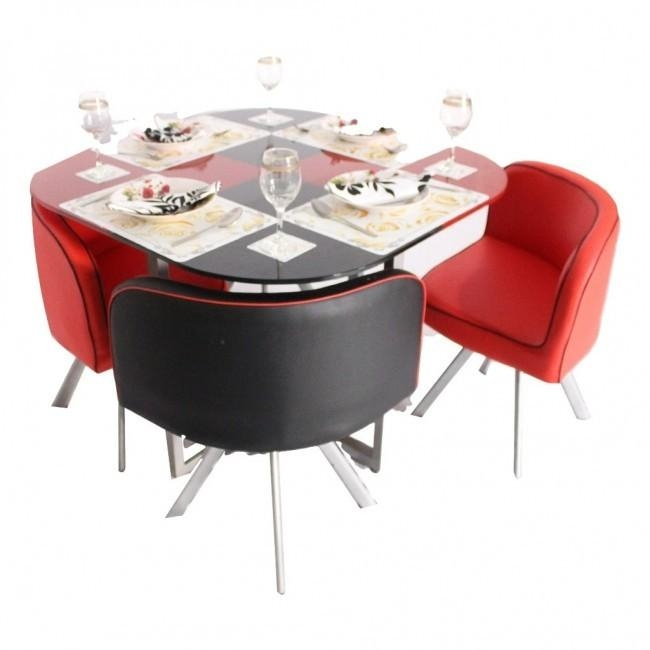 Retro 4 Seater Glass Top Dining Set – Woodys Furniture Throughout Most Recently Released Small 4 Seater Dining Tables (View 3 of 20)