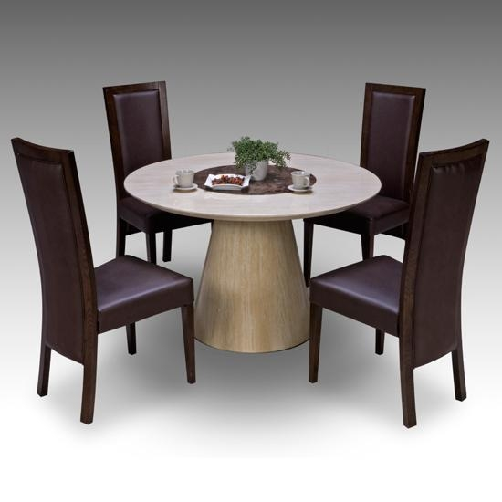 Retro Round Marble Dining Table + 4 Retro Elm Chairs 15674 Intended For Most Up To Date Circular Dining Tables For  (Image 7 of 20)