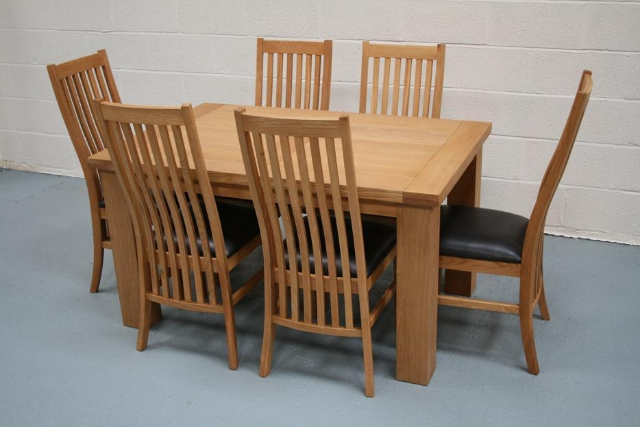 Riga Oak Table & Chair Set With Matching Lichfield Oak Chairs With Regard To Latest Oak Furniture Dining Sets (Image 16 of 20)