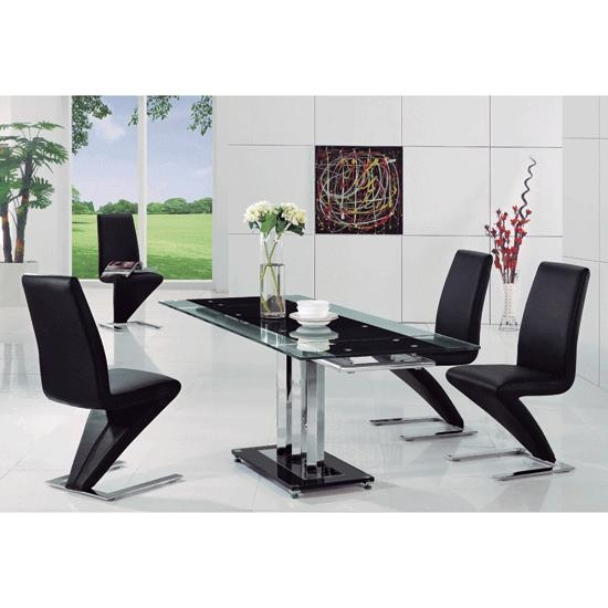 Rihanna Black Glass Extending Dining Table And 6 Z Dining Throughout Most Up To Date Black Glass Extending Dining Tables 6 Chairs (View 9 of 20)