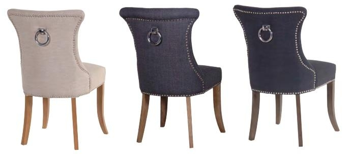 Ring Back Studded Dark Grey Dining Chair In Latest Grey Dining Chairs (Image 17 of 20)