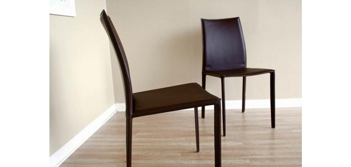 Rockford Contemporary Brown Leather Dining Chair With Regard To Most Current Dark Brown Leather Dining Chairs (Image 16 of 20)