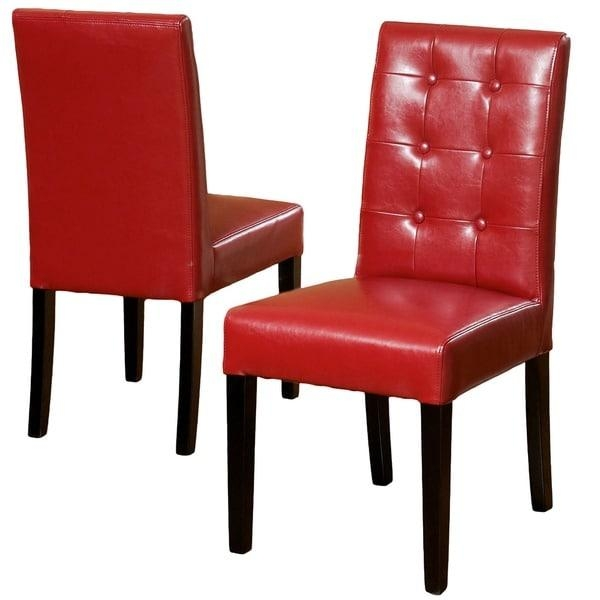 Roland Red Bonded Leather Dining Chairschristopher Knight Home Inside Red Leather Dining Chairs (Image 17 of 20)