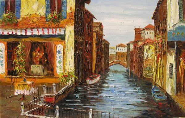 Romantic Venice 23 X 36 Office Home Wall Art Decor Original Regarding Italian Bistro Wall Art (Image 16 of 20)
