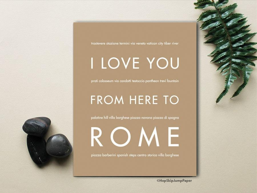 Rome Italy Travel Wall Art Home Decor I Love You From Here With Regard To Italian Travel Wall Art (Image 17 of 20)