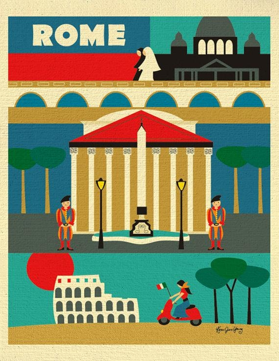 Rome Print Rome Wall Art Italy Travel Poster Rome Map Rome For Italian Travel Wall Art (Image 18 of 20)