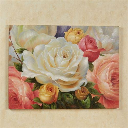 Rose Garden Handpainted Floral Canvas Wall Art With Regard To Rose Canvas Wall Art (Image 14 of 20)