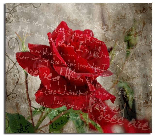 "Roses Are Red Iii"" Canvas Wall Art – Contemporary – Prints And For Rose Canvas Wall Art (Image 15 of 20)"