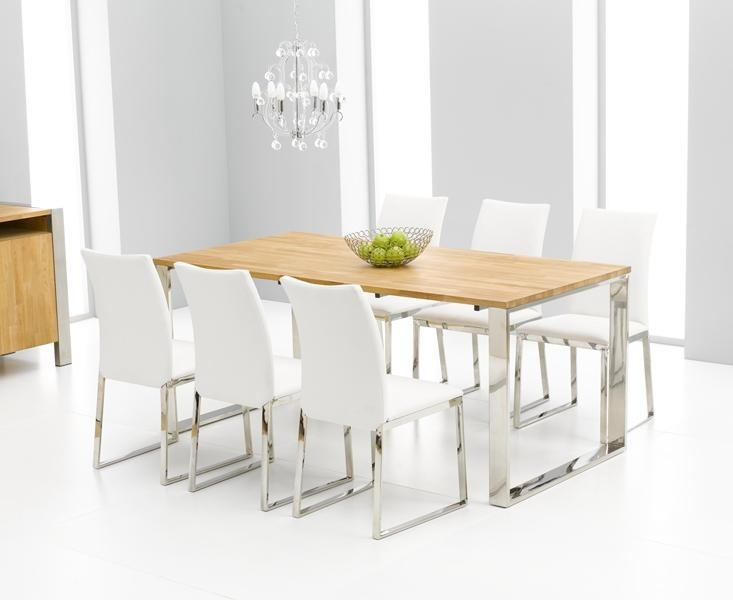 Roseta Oak & Chrome Dining Table | Oak Furniture Solutions Pertaining To Latest Chrome Dining Room Chairs (Image 13 of 20)