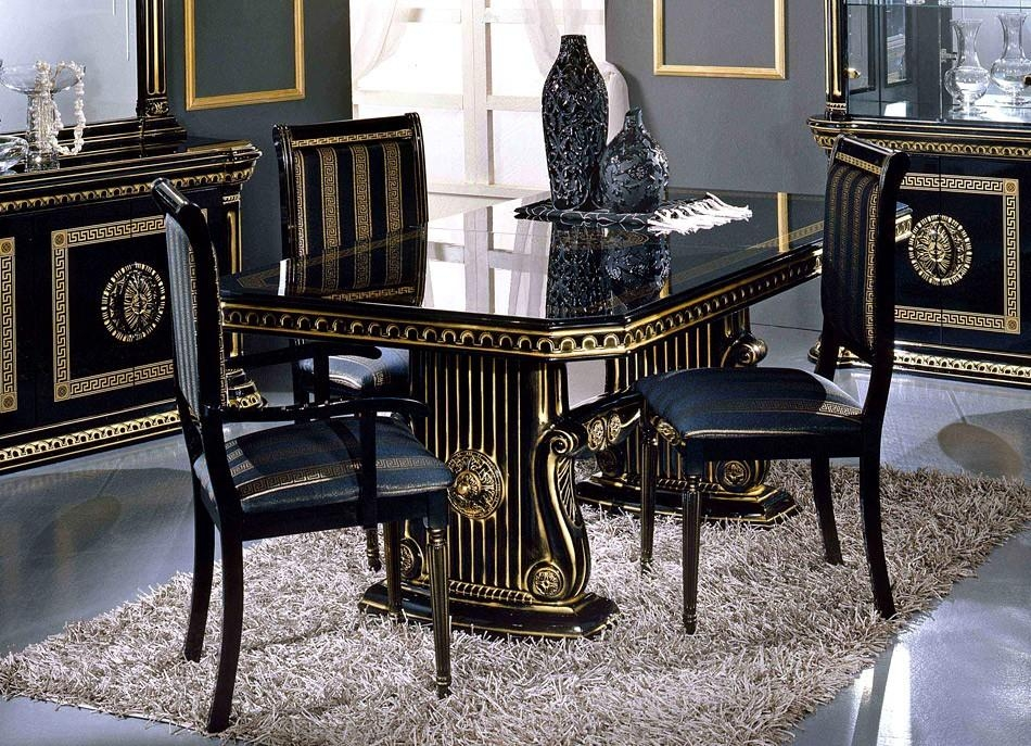 Rossella Italian Classic Dining Set Inside Latest Black Gloss Dining Tables And Chairs (Image 15 of 20)