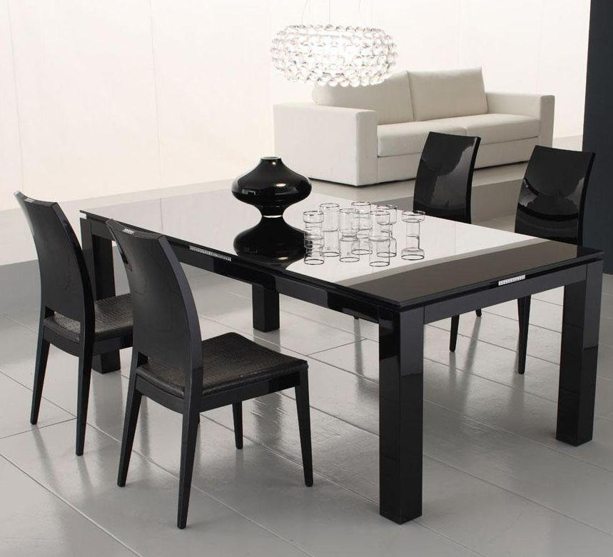 Rossetto Diamond Black Glass Dining Table Ideas | Home Furniture Regarding Best And Newest Black Glass Dining Tables (Image 18 of 20)