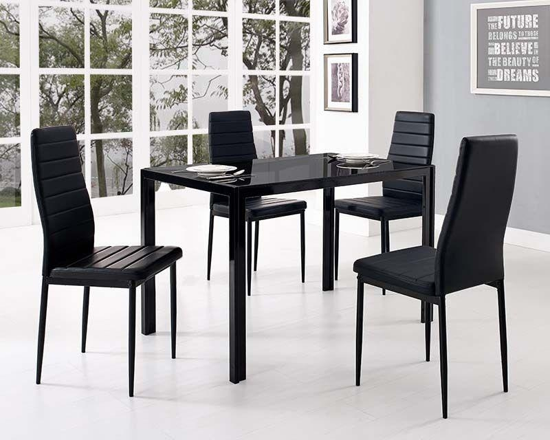 Round Black Glass Dining Table 4 Chairs – Starrkingschool Intended For Most Popular Black Glass Dining Tables (View 7 of 20)