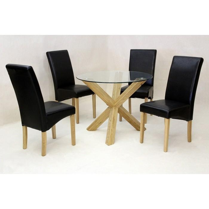 Round Glass Dining Table | Leather Chairs | Contemporary | Kitchen Throughout Most Popular Oak And Glass Dining Tables Sets (Image 20 of 20)