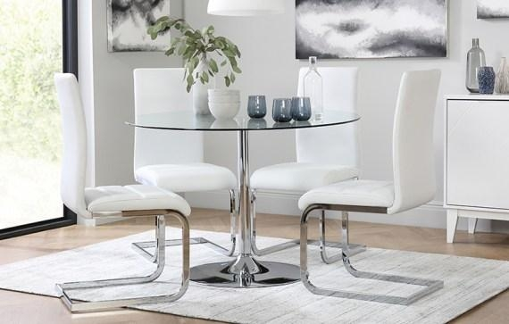 Round Glass Kitchen Table Sets | Mada Privat Throughout Latest White Glass Dining Tables And Chairs (Image 15 of 20)