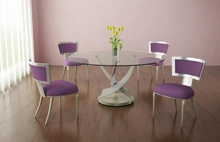 Round Glass Table With Purple Dining Room Chair | Home Interiors With Regard To 2017 Dining Tables And Purple Chairs (Image 16 of 20)