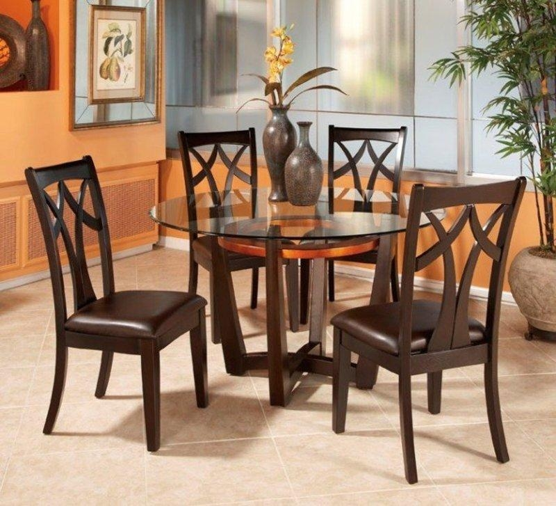 Round Glass Top Dining Table Set W 4 Wood Back Side Chairs | Eva Throughout Most Up To Date Circular Dining Tables For  (Image 15 of 20)