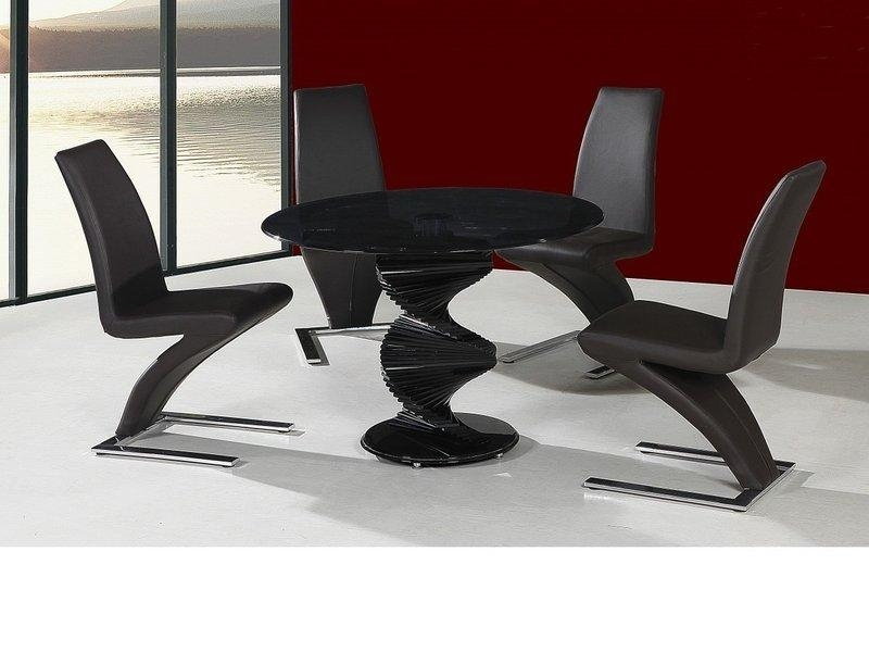 Round Twirl Glass Dining Table And 4 Chairs In Black – Homegenies Regarding Recent Round Black Glass Dining Tables And 4 Chairs (Image 20 of 20)