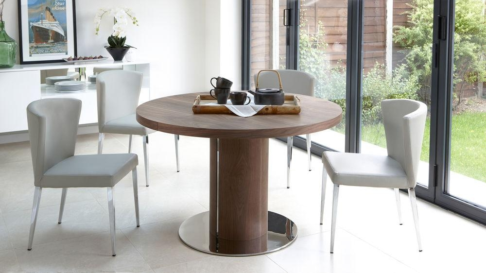 Round Walnut Extending Dining Table | Pedestal Base | Uk Intended For Most Up To Date Glasgow Dining Sets (Image 16 of 20)