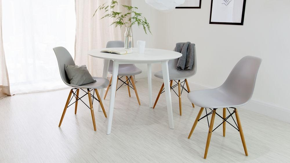 Round White 4 Seater Dining Table | Matt Finish | Uk Throughout 2018 White Dining Tables And Chairs (Image 14 of 20)