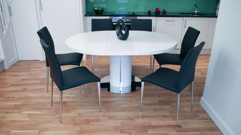 Round White Dining Table And Chairs | Uk Delivery Inside Newest White Oval Extending Dining Tables (Image 18 of 20)