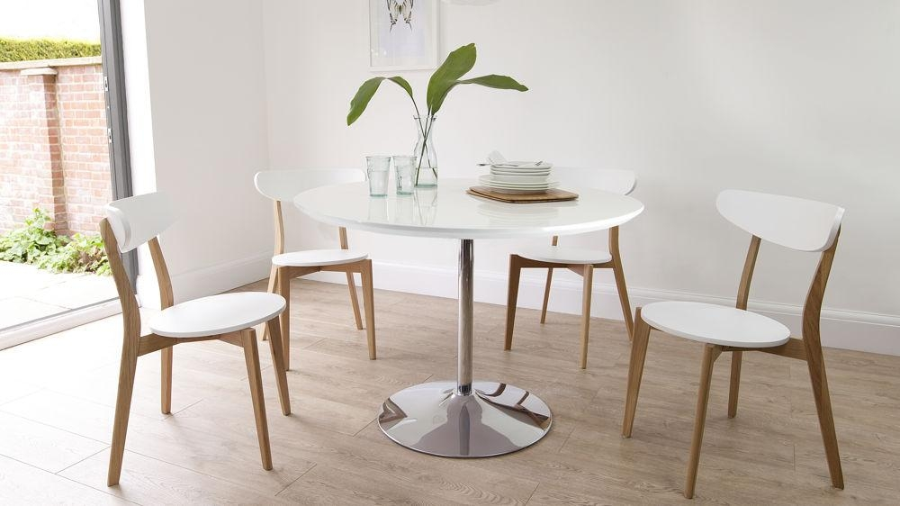 Round White Gloss Dining Table | Oak Dining Chairs | Uk Throughout White Gloss Dining Chairs (View 13 of 20)