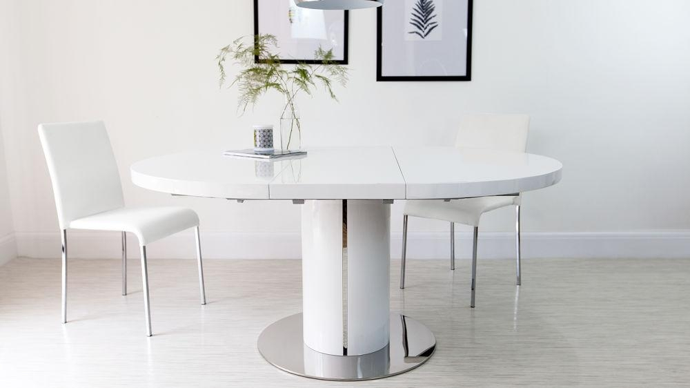 Round White Gloss Extending Dining Table | Pedestal Polished Steel Inside Most Popular White Round Extendable Dining Tables (Image 16 of 20)