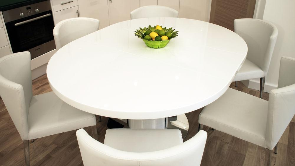 Round White Gloss Extending Dining Table | Pedestal Polished Steel Within Newest White Gloss Round Extending Dining Tables (Image 11 of 20)