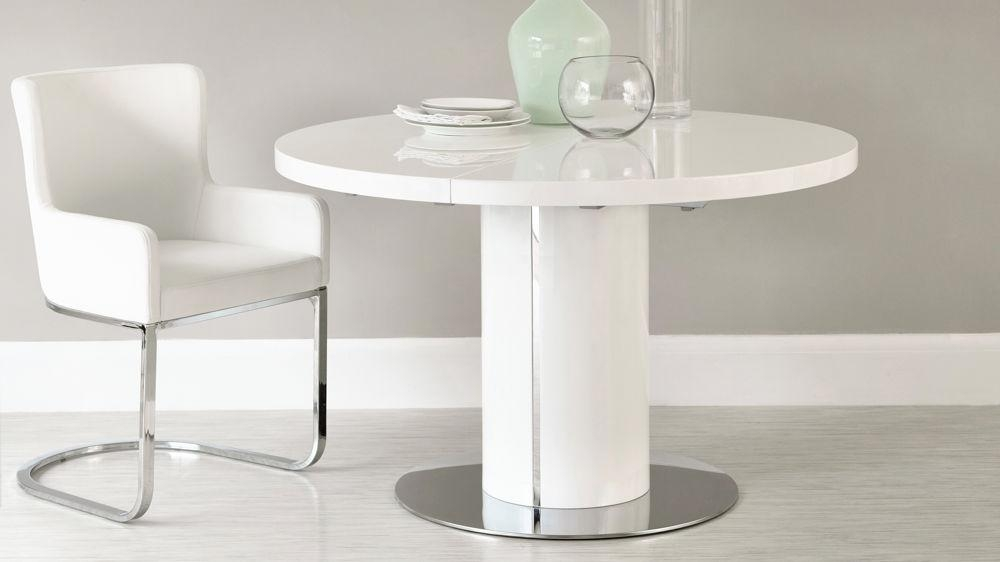 Round White Gloss Extending Dining Table | Pedestal Polished Steel Within Newest White Round Extendable Dining Tables (Image 17 of 20)