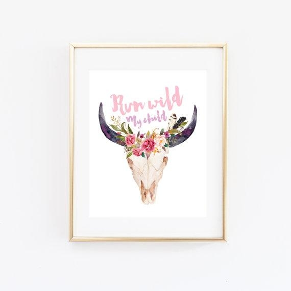 Run Wild My Child Printable Wall Art Boho Chic Nursery Stay Inside Boho Chic Wall Art (Image 18 of 20)